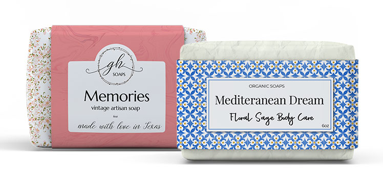 Wrapped soap with custom printed sleeve packaging