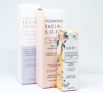Skincare branding on custom boxes