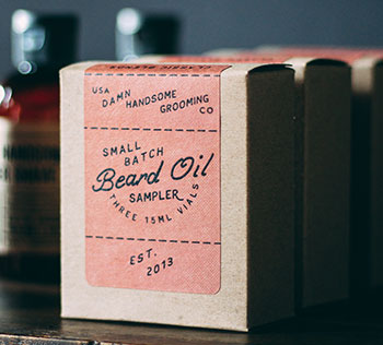 Beard oil kraft box with label