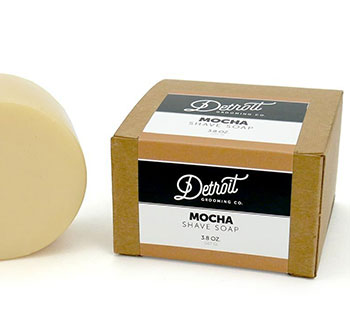 Shave soap kraft box with label