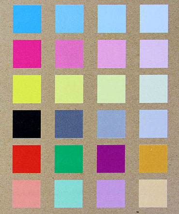 Color reference on kraft paper with white ink substrate