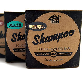 Kraft shampoo box with black, white and color printing