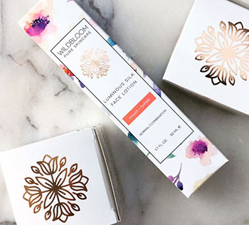 Hot foil stamping on cosmetic packaging