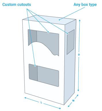 Box with custom cutout