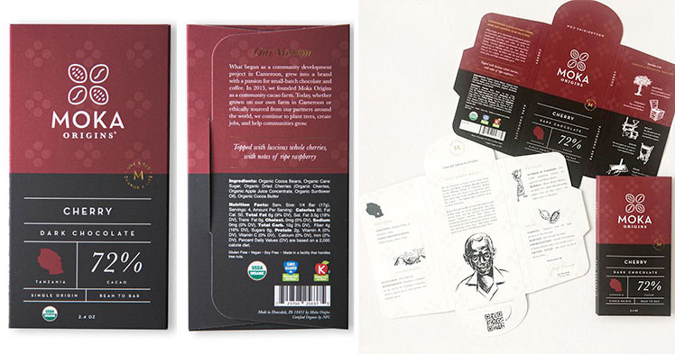 Chocolate bar packaging - front, back and inside print