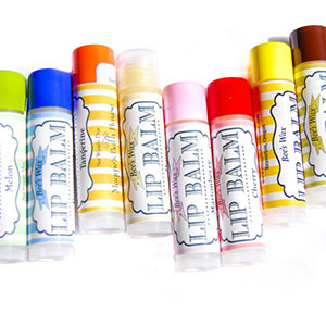 Colorful lip balm labels