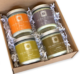 Fall collection candle packaging