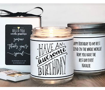 Happy birthday candle label