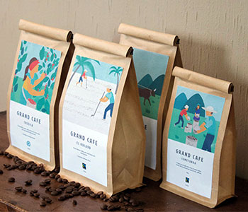 packages with coffee labels