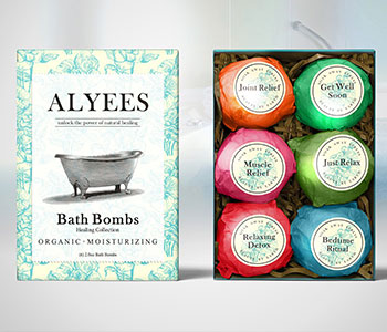 colorful bath bomb box