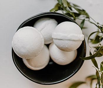 white bath bombs